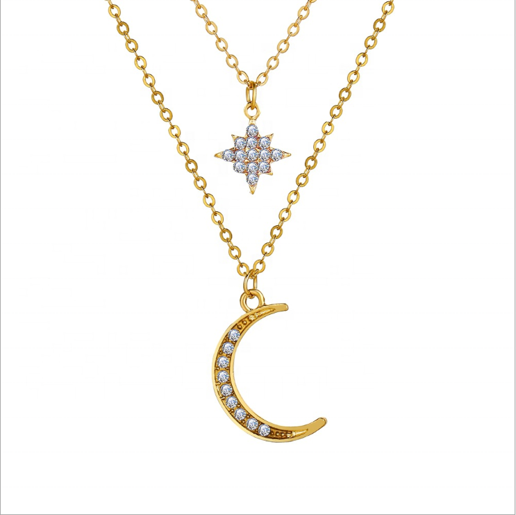 Vintage moon star halsband