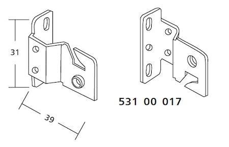 2 st / Hållare DC1 för fjädermekanism 25 mm (exkl.skruv) (14D)