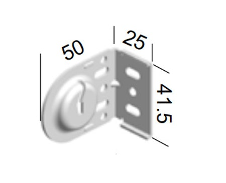 Monteringsbeslag (skåra) Galvat fjädermekanism 25 mm (A27A)