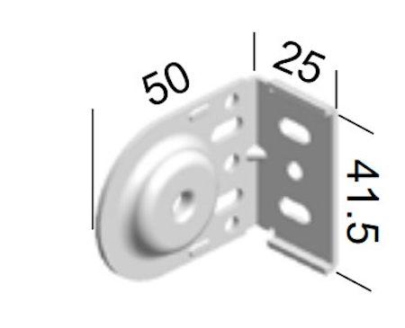 Monteringsbeslag (hål) VIT fjädermekanism 25 mm (A27FG)