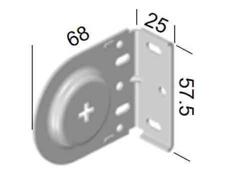 Monteringsbeslag (kors) VIT fjädermekanism 38 mm (A27L)