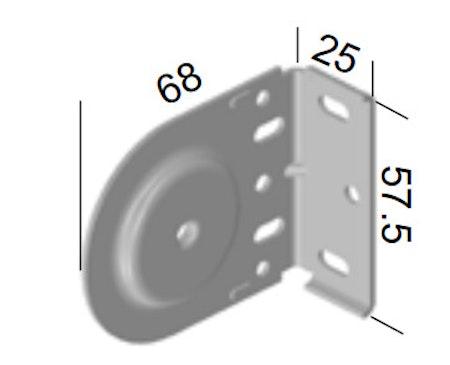 Monteringsbeslag (hål) VIT fjädermekanism 38 mm (A27L)