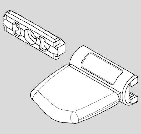 Handtag+ Fäste Vit Plissegardin Cosiflor typ: VS1-VS2 (A20M)