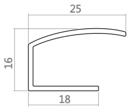 1 st / Spår-sido-skena ALU-Vit UNI 25 mm typ E med tejp (max 120 cm)