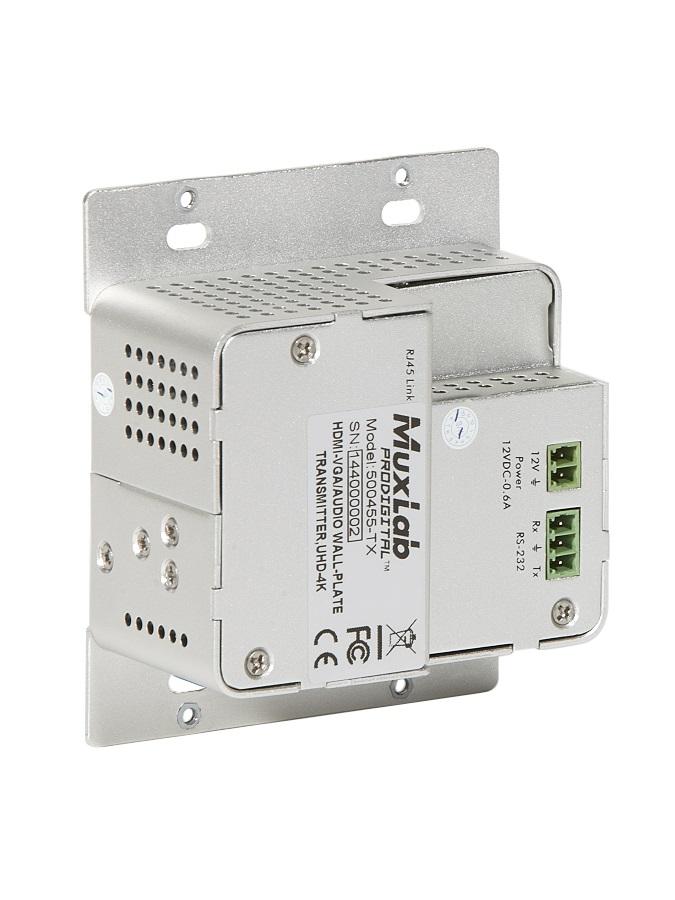 Muxlab HDMI sändare för montering på vägg, Bi-Dir RS232, 60 m