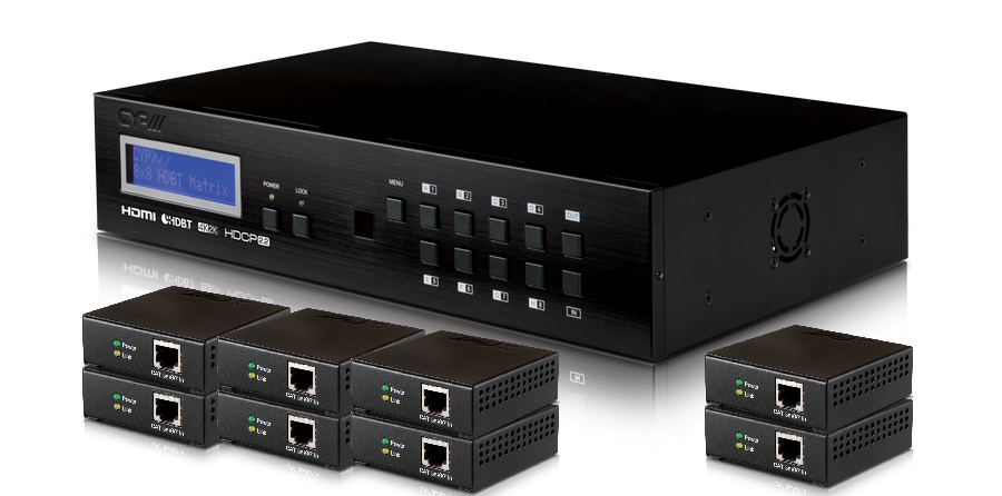 CYP/// 8:8 HDMI till HDBaseT Lite Matris + 8 mott., 4K2K, HDCP 2.2