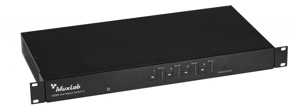 Muxlab HDMI 4x4 Matris HDBaseT Lite med PoE + 4 mottagare