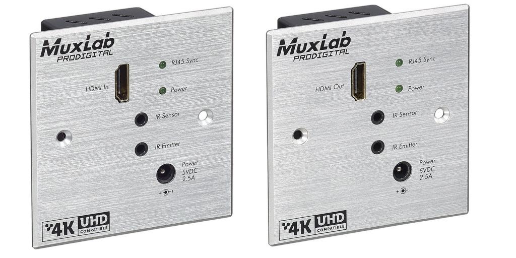Muxlab HDMI Wall-Plate Extender KIT med HDBT Lite, 4K, IR