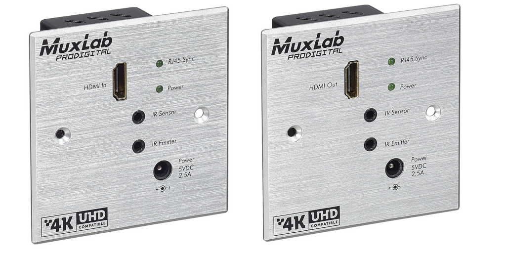 Muxlab HDMI Wall-Plate Extender Mottagare, HDBT Lite, 4K, IR