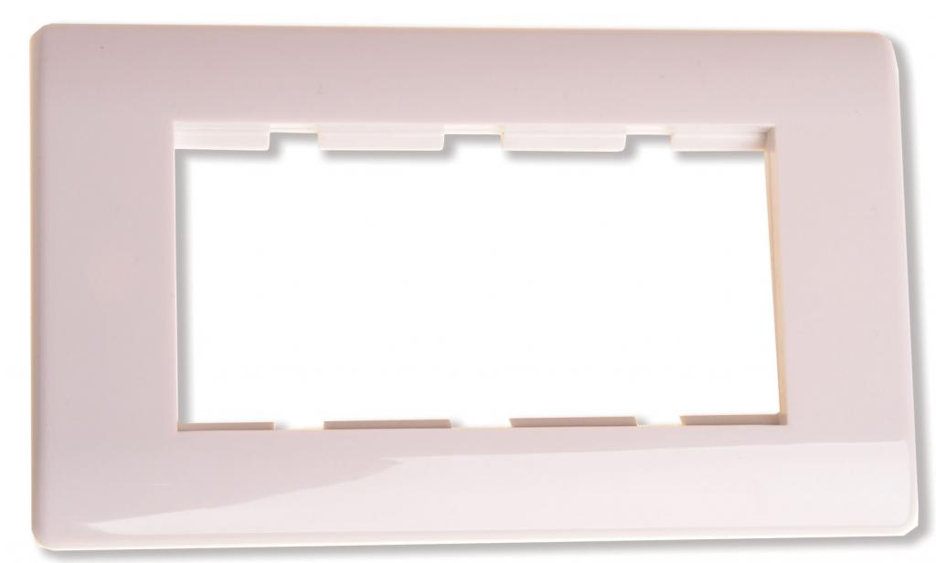 HDconnect Ram för 4 moduler vit rundad kant
