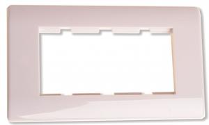 Ram för 4 moduler vit rundad kant
