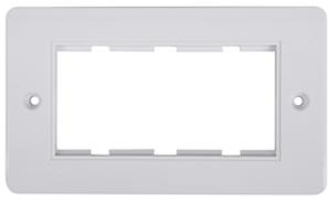 Dubbel ram för 4 moduler vit rundad kant