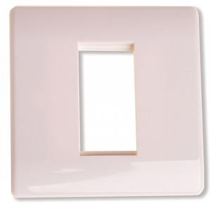 Ram för 1 modul vit med rundad kant