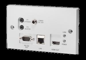 HDMI vägg.mott. över singel kabel, Bi-di PoE, 4K, IR, RS232