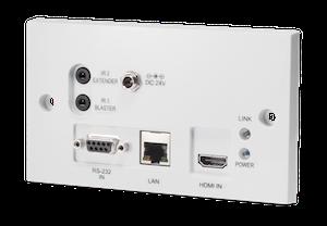 HDMI vägg.sändare över singel kabel, Bi-di PoE, 4K, IR, RS232