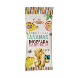 10 x Smiling Fruktbollar - Ananas, Ingefära & Passion 40 g