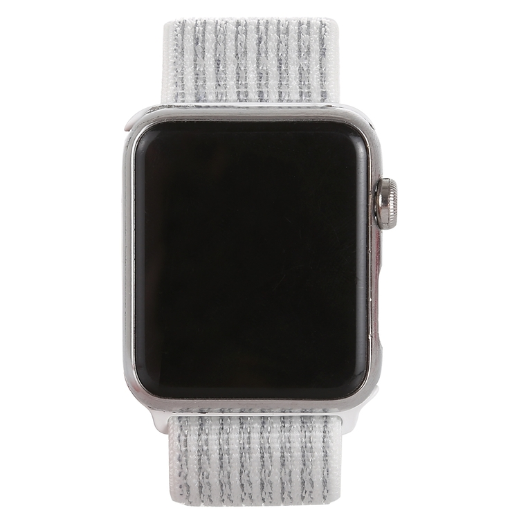42 & 44 mm armband för Apple Watch i nylon (Silver/Vit)