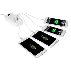 4-Ports 15W USB Laddare med strömbrytare