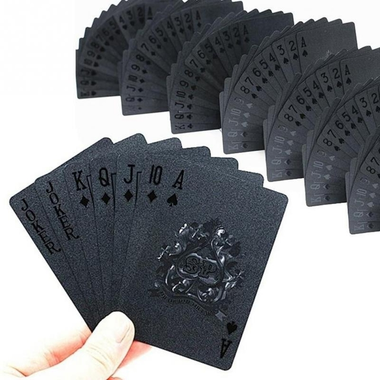 Helt Svarta plastkort, vattentäta, kortlek, poker