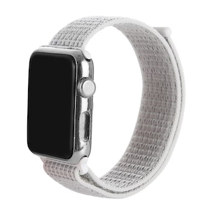 38 & 40 mm armband för Apple Watch i nylon (Silver/Vit)