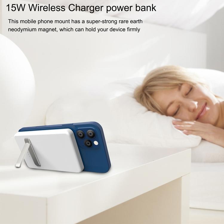 Ultra Tunn Trådlös Power Bank på 15W & 5000mAh för iPhone 12 och 13 serien, Vit