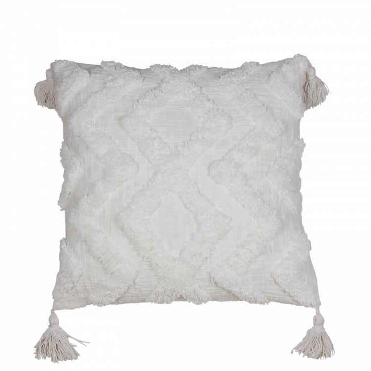 Vitt Kuddfodral med snyggt tuftat mönster och dekorativa tofsar i hörnen