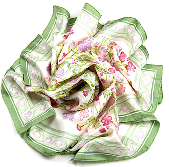"""AUTH HERMES SCARF """"OEILLETS SAUVAGES ET AUTRES CARYOLPHILLEES"""" SILK GREEN"""