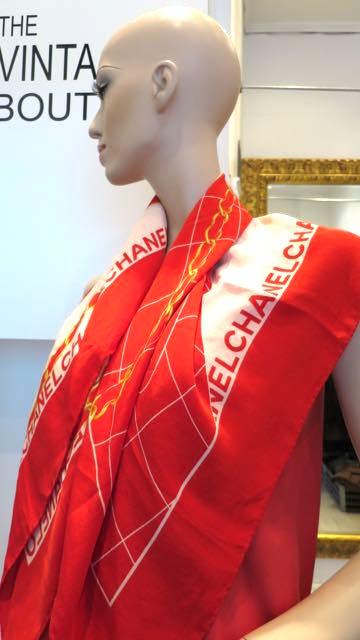 CHANEL CC LOGOS SCARF HANDKERCHIEF 100% SILK RED ITALY VINTAGE