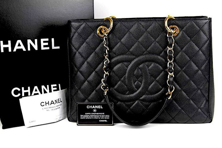 CHANEL GST Grand Shopping Svart Kaviar Läder Väska
