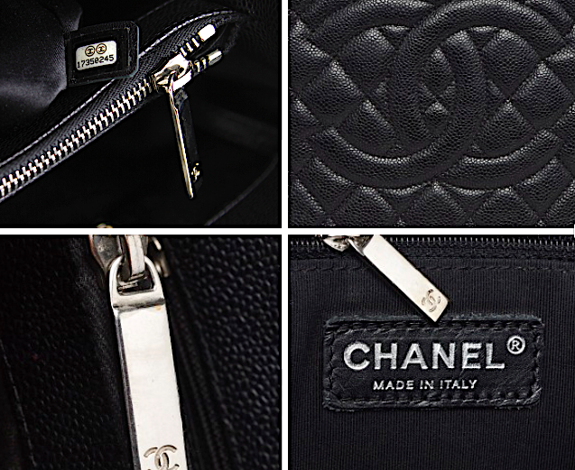 CHANEL GST Grand Shopping Svart Kaviar Läder Väska XL
