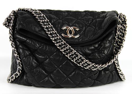 CHANEL Chain Around Hobo Bag Black Lammskinn