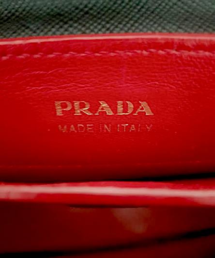 PRADA Large Double Tote Saffiano Cuir Black/Röd Väska