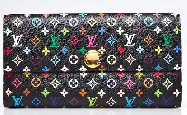 LOUIS VUITTON Black Monogram Multicolore Sarah Wallet