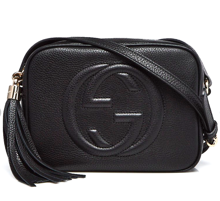 GUCCI Soho Disco Tassel Bag Black Grain Leather Shoulder Bag