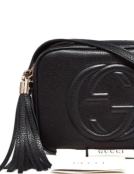 GUCCI Soho Disco Tassel Bag Black Grain Leather Shoulder Bag