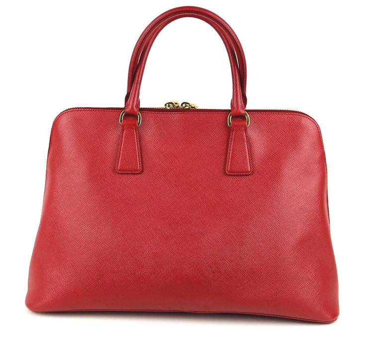 Prada Saffiano Lux Leather Double Zip Tote Väska