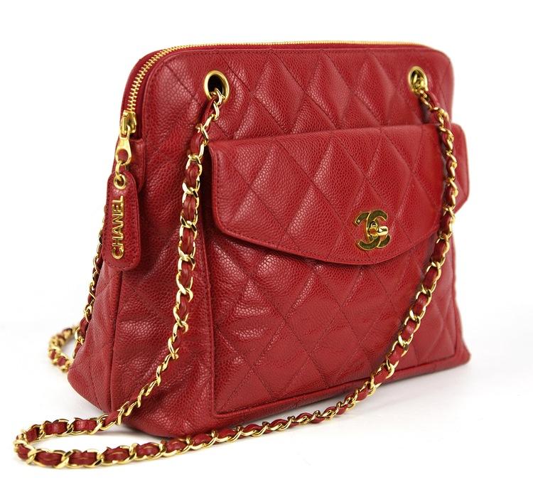 CHANEL Röd Kaviar Läder Väska