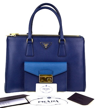 PRADA Bluette/Cobalto Bi-Color Saffiano Lux Leather Pocket Tote Bag BN2674