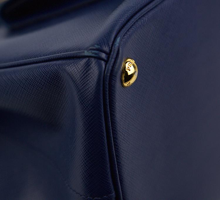 PRADA Bluette/Cobalto Bi-Color Saffiano Lux Leather Pocket Tote Bag BN2674