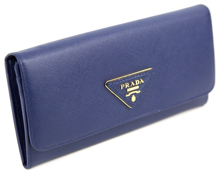 PRADA Bluette Saffiano Triangle Leather Long Continental Wallet 1M1132