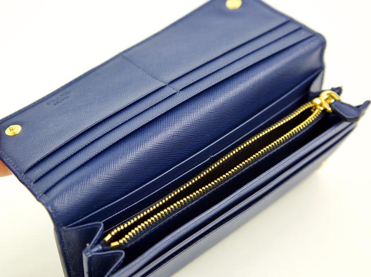 PRADA Bluette Saffiano Triangle Leather Long Continental Wallet 1M1132