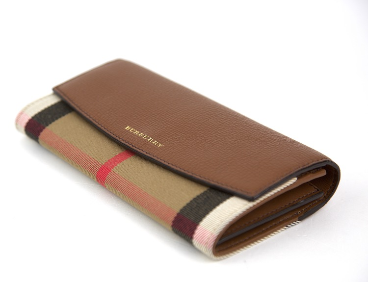 BURBERRY Brown Leather and House Check Porter Continental Wallet