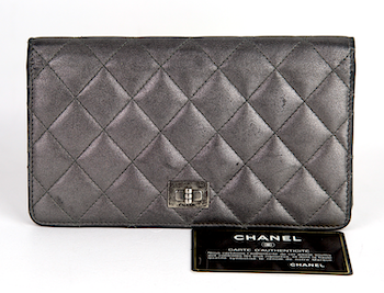 CHANEL Silver Metallic Quilted Reissue Wallet