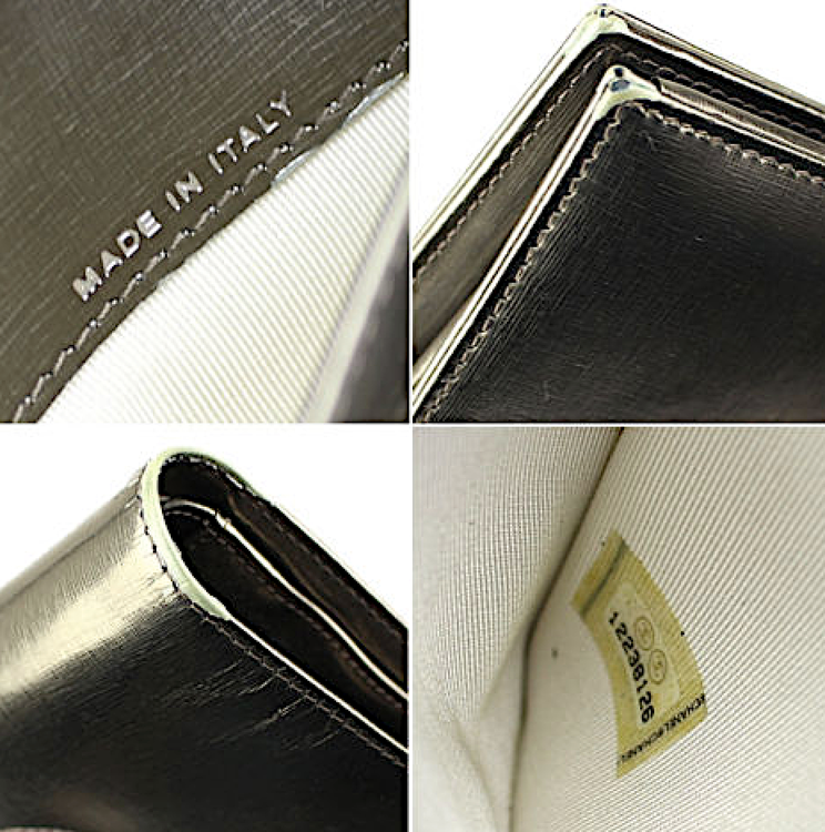 CHANEL Metallic Guld Kalvskinn Läder Plånbok
