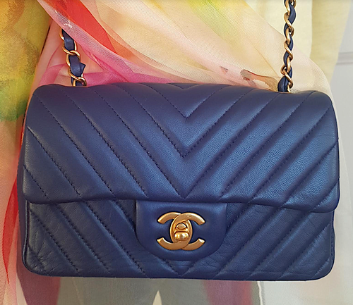 CHANEL Blue Chevron Lambskin Rectangular Mini Bag