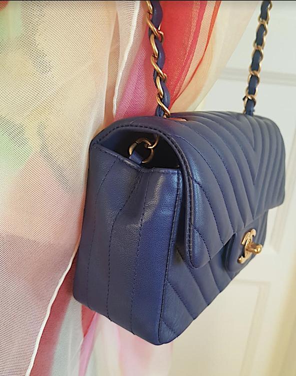 CHANEL Blue Chevron Lambskin Rectangular Mini Bag