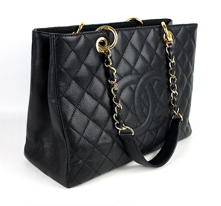 Chanel GST Grand Shopping Svart Kaviar Läder Väska