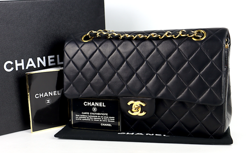 Chanel Classic Medium Double Flap Väska kort,dustbag,kartong,äkthetsintyg