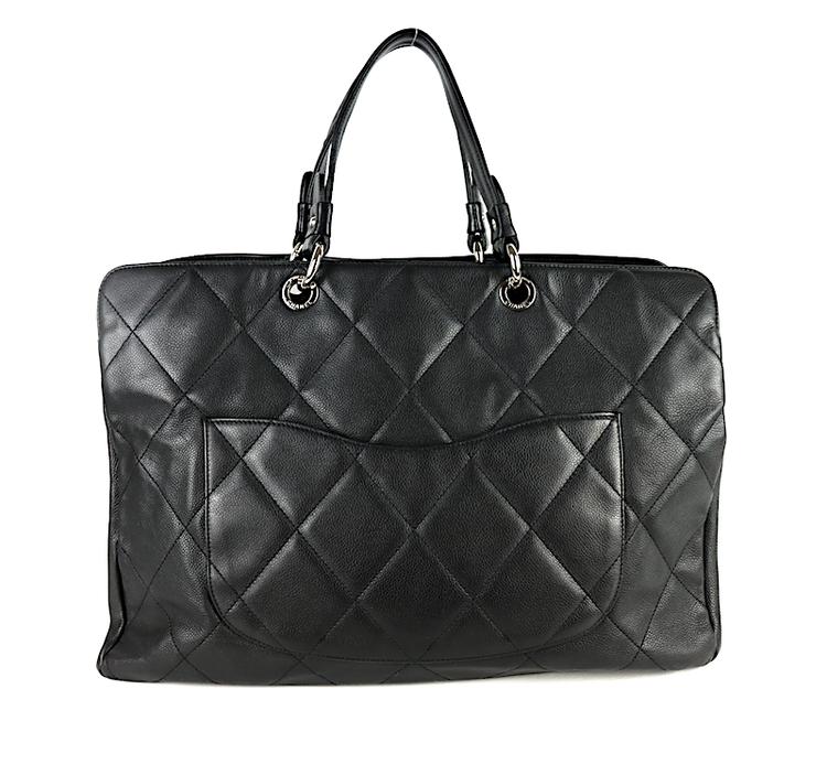 Chanel Svart Kaviar Läder Stor Väska