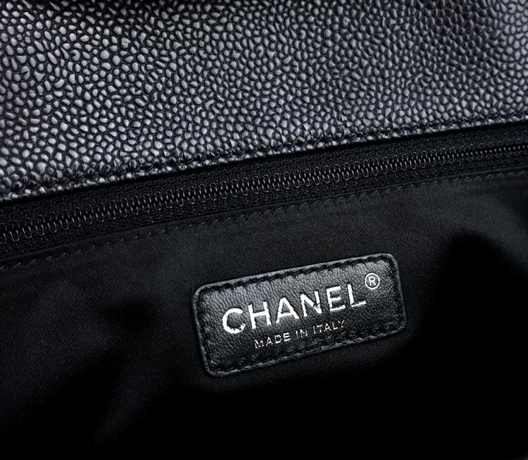 Chanel GST Grand Shopping Svart Kaviar Läder Väska / Utmärkt